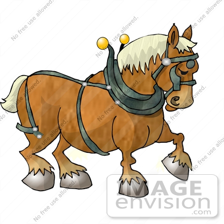 Clydesdale Draft Horse Wearing a Harness Clipart.