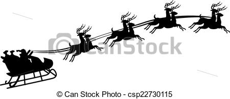 Vector Clip Art of Illustration of Santa Claus riding in a sleigh.