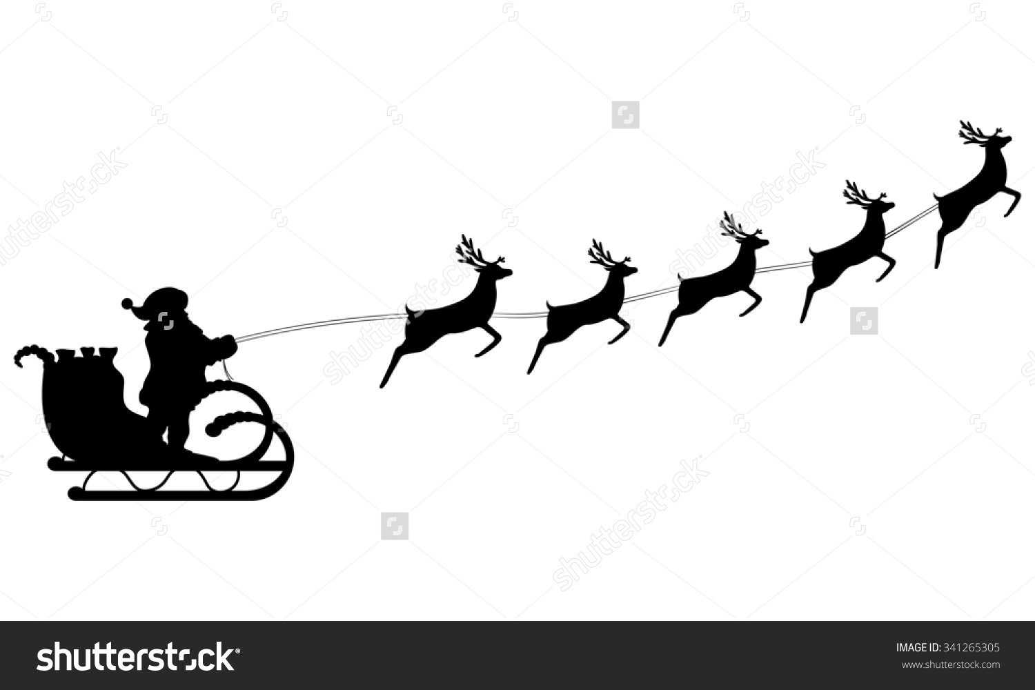 Santa Claus Rides In A Sleigh In Harness On The Reindeer Stock.