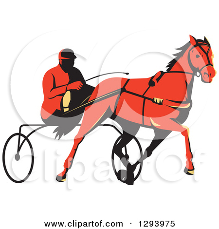 Clipart of a Retro Black and White Trotter Harness Horse Racer.