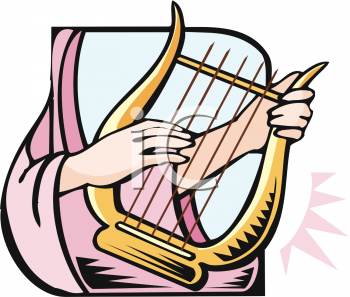 Woman Playing a Lap Harp.