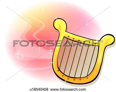 Clip Art of candle light, harp, candle, religion.