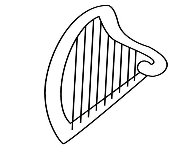 Harp Clip Art Black and White.