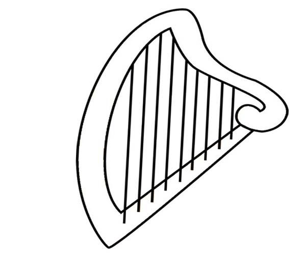 Harp Clip Art Black and White.