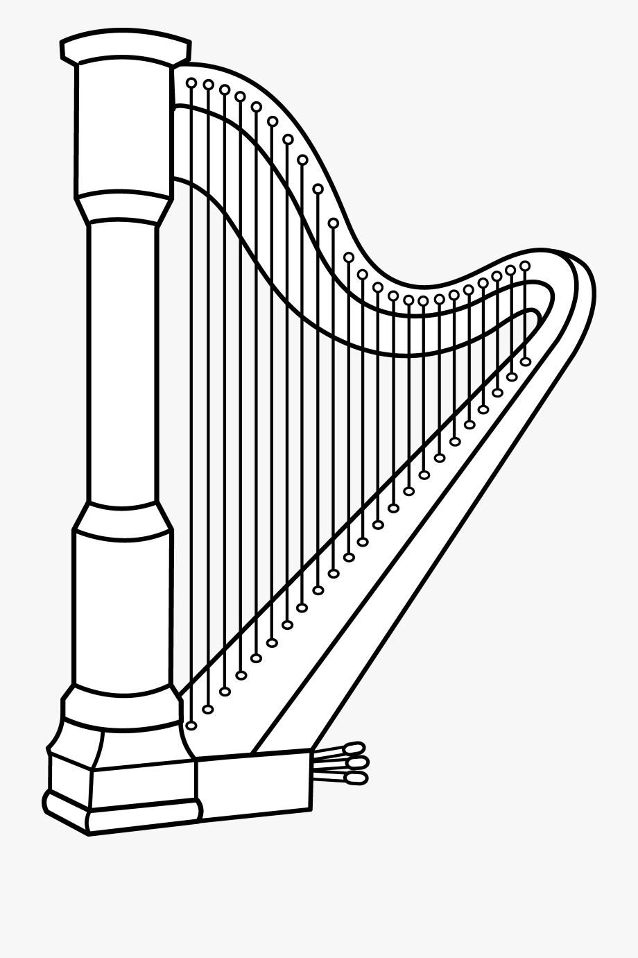 Musical Harp Line Art.
