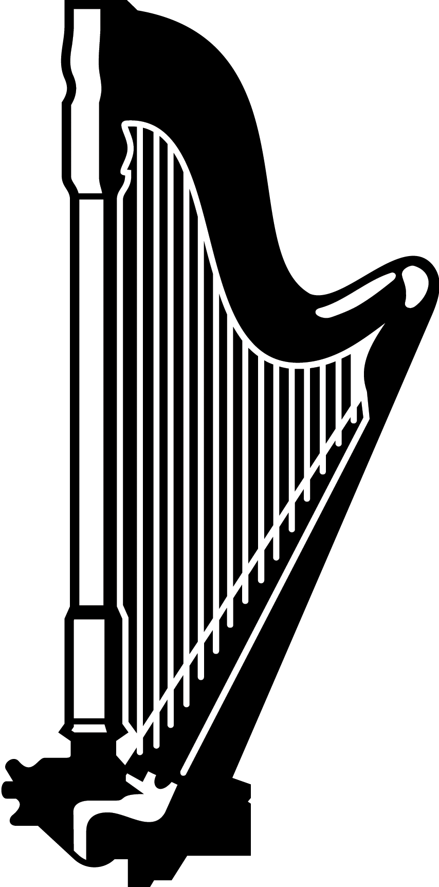 Harp clipart black and white, Harp black and white.