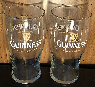 GUINNESS PINT GLASS Double Logo Harp Est 1759 Brewed in.