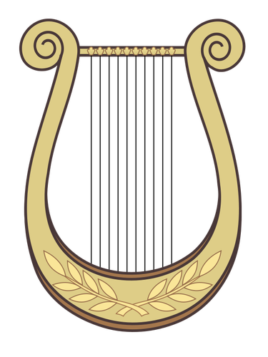 Harp with decoration vector clip art.