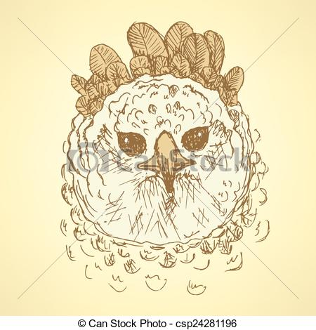 EPS Vectors of Sketch harpia bird head in vintage style, vector.