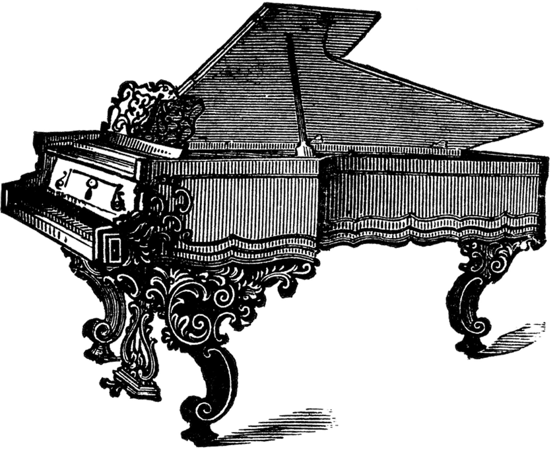 Vintage Grand Piano or Harpsichord Image!.