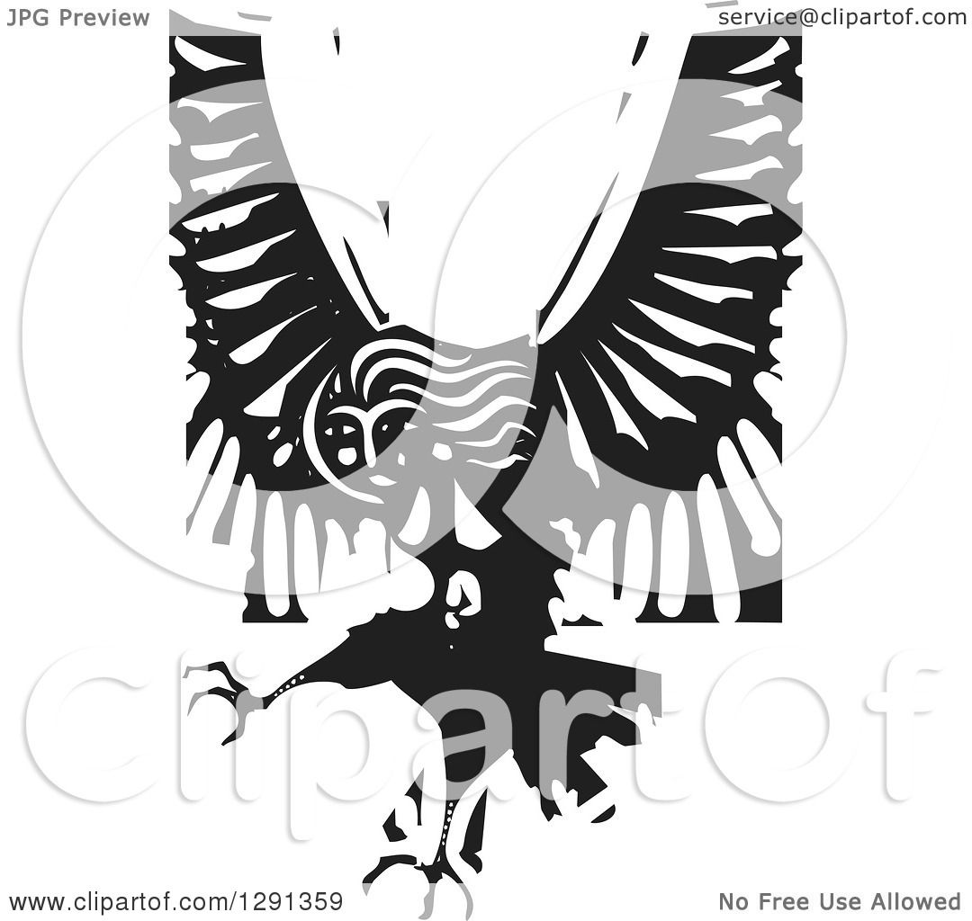 Clipart of a Black and White Woodcut Female Harpy of Greek.