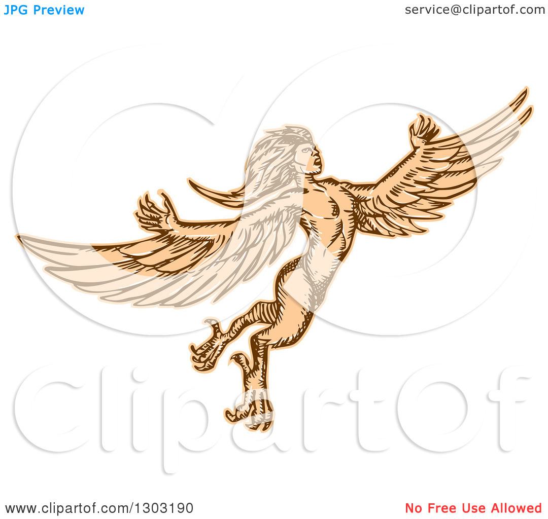 Clipart of a Flying Mythical Harpy.
