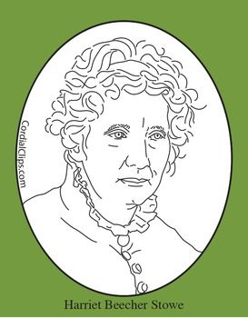 Harriet Beecher Stowe Clip Art, Coloring Page or Mini Poster.