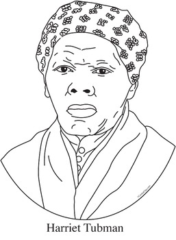 Harriet Tubman Realistic Clip Art, Coloring Page and Poster.