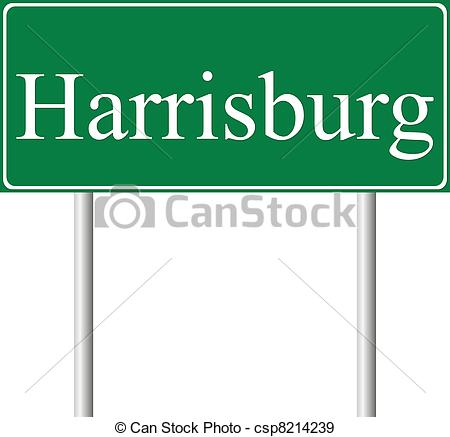 EPS Vectors of Harrisburg green road sign isolated on white.