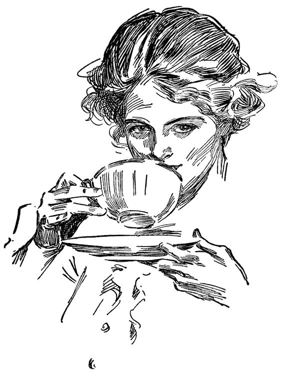 lady drinking tea, tea time graphics, vintage lady clip art, black.