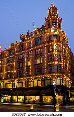 Picture of Harrods in dusk, London, England 3086037.