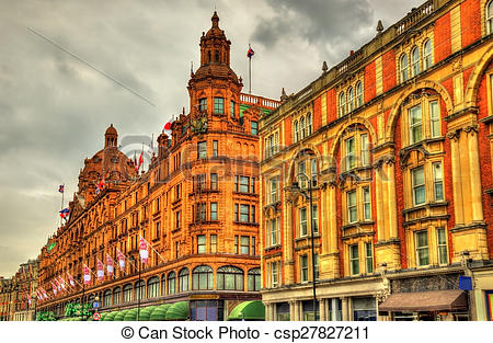 Stock Photography of Harrods, a department store in London.