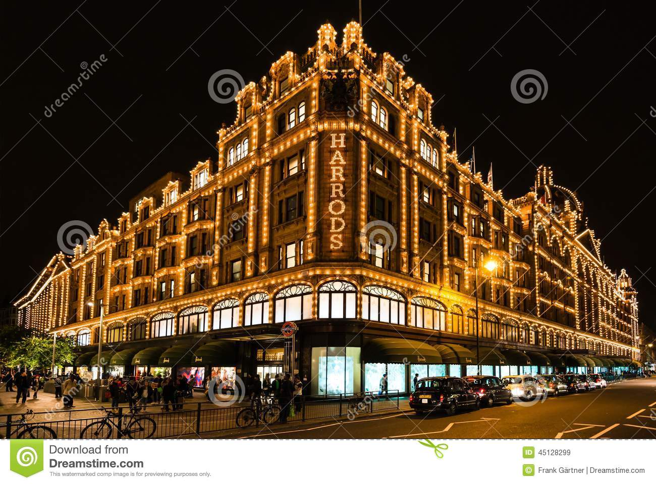 Harrods Department Store In London At Night Editorial Stock Image.