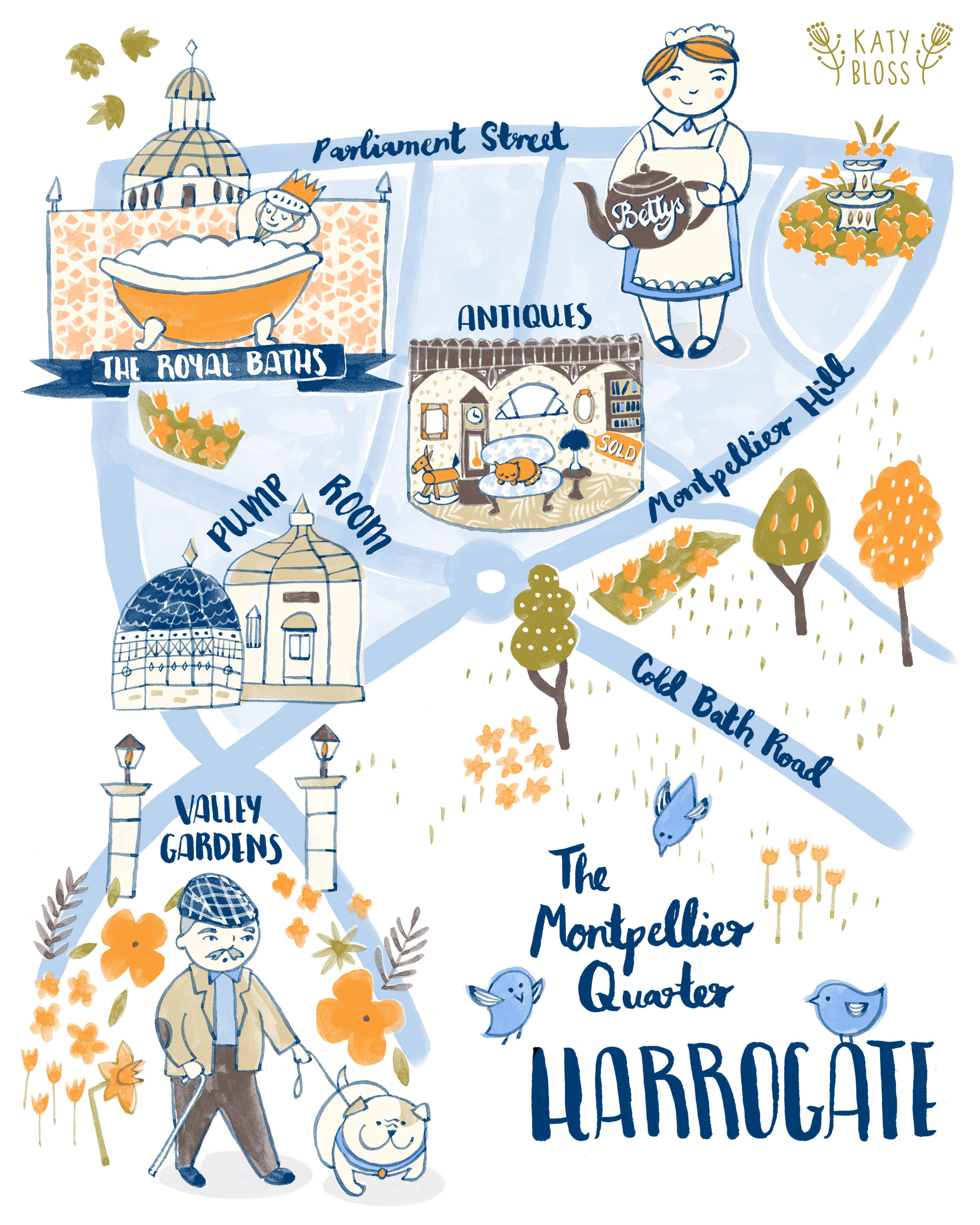 Illustrated map of Harrogate.