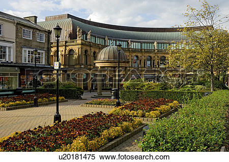 Stock Image of England, North Yorkshire, Harrogate. Flowerbeds in.
