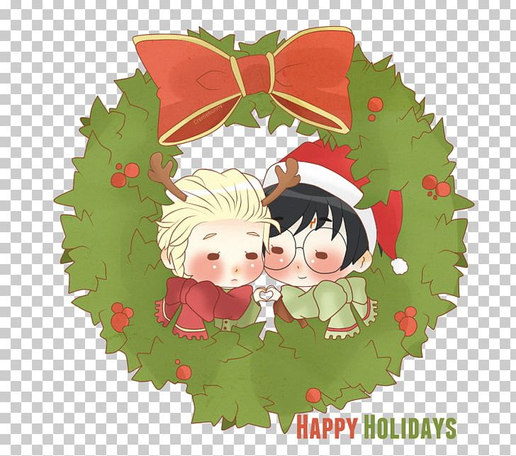 Draco Malfoy Ron Weasley Hermione Granger Harry Potter Christmas PNG.