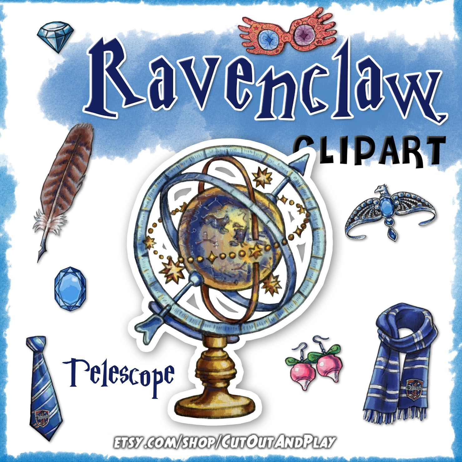 Ravenclaw clipart, Harry Potter clipart, Harry potter party.