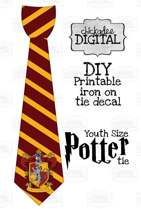 1 Harry Potter Tie Gryffindor Crest Red and Gold Printable.
