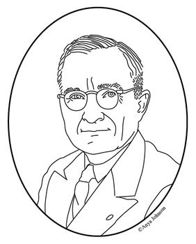 Harry S. Truman (33rd President) Clip Art, Coloring Page or Mini.