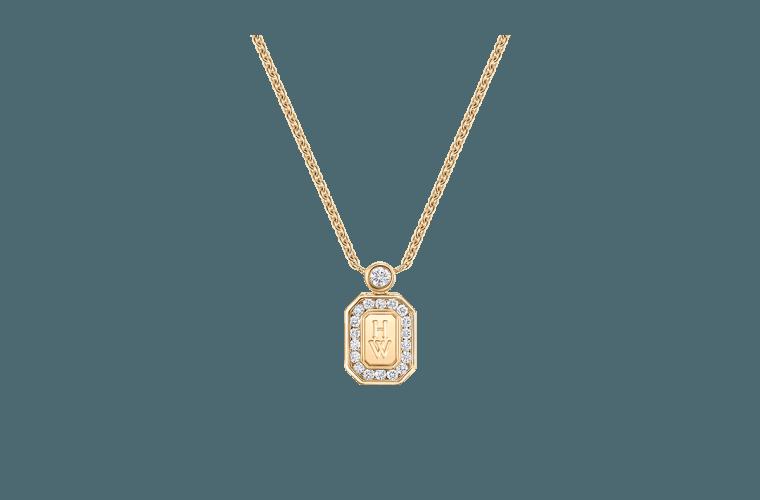 HW Logo Yellow Gold Diamond Pendant.