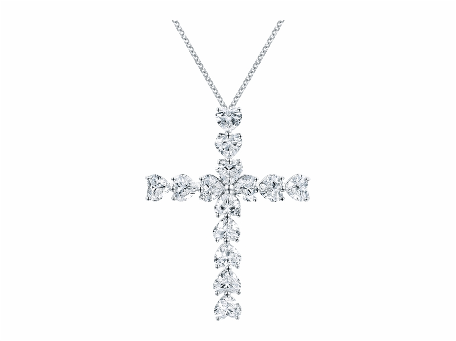 Symbols By Harry Winston Heart Shaped Diamond Cross.
