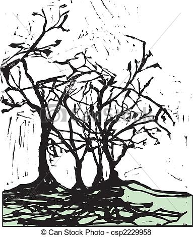 Vector of Harsh Trees and Shadows.