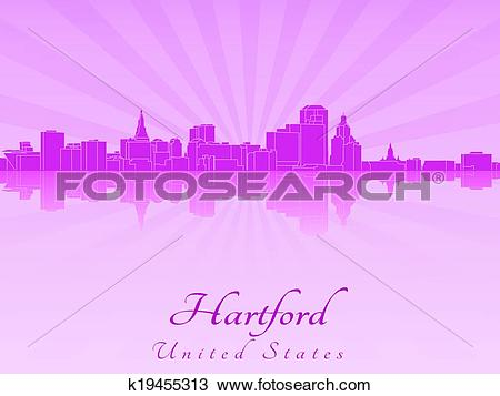 Clipart of Hartford skyline in purple radiant orchid k19455313.