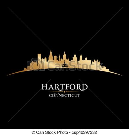 Vectors of Hartford Connecticut city silhouette black background.