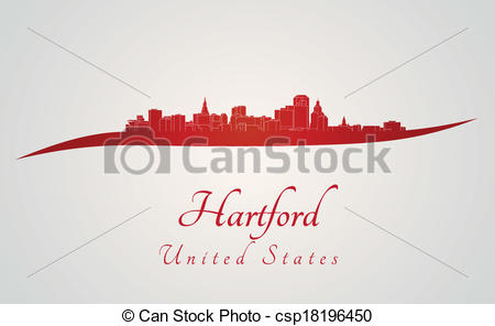 Clipart Vector of Hartford skyline in red and gray background in.