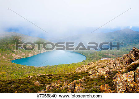 Stock Photography of Hartz Lake from Hartz Peak, Tasmania.