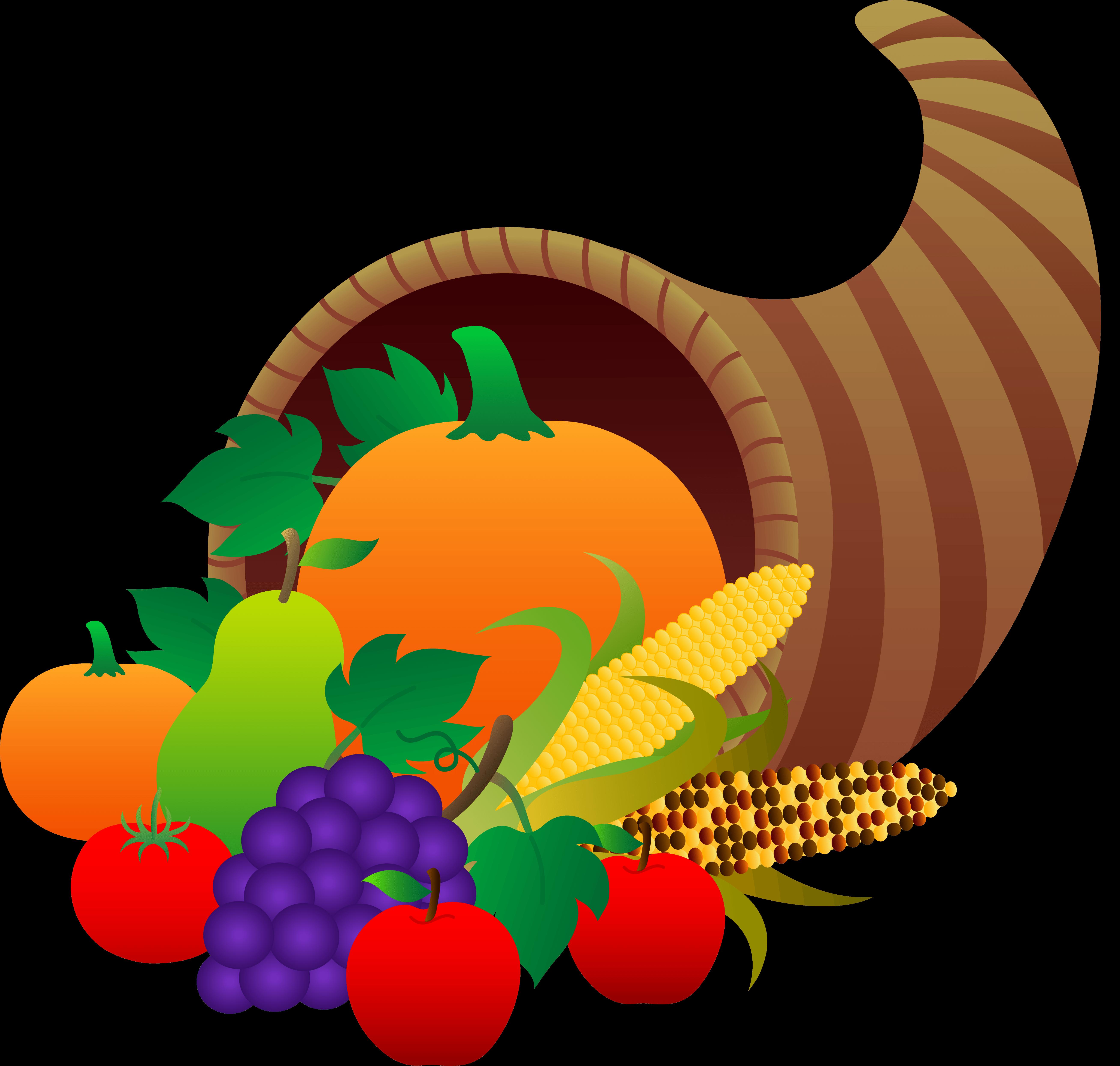 Harvest food baskets clipart.