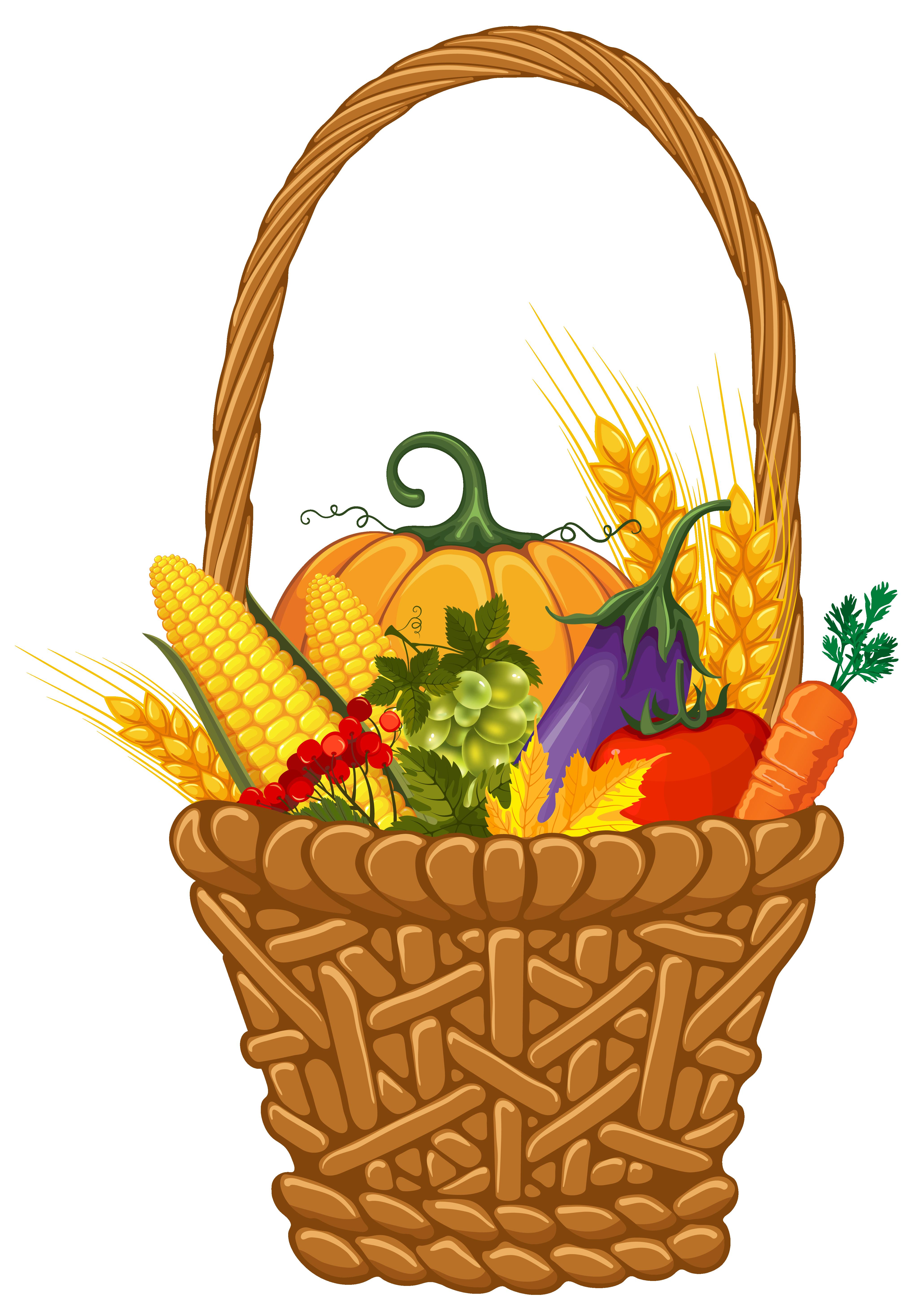 Fall Harvest Basket PNG Clipart Image.
