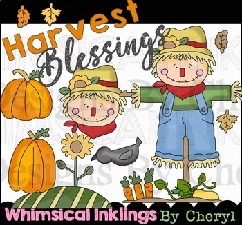 Harvest Blessings~Scarecrow and Fall Clipart Collection.