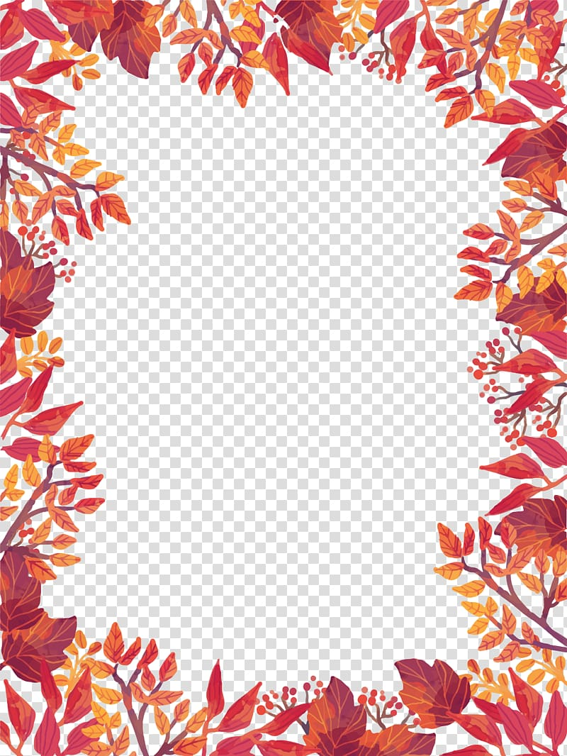 Pink and green leafed plants illustration, Flyer Autumn.