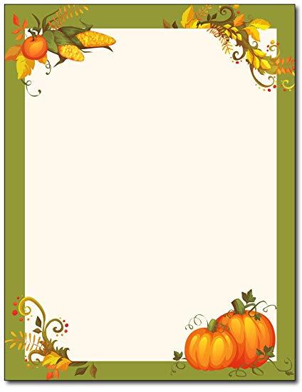 Thanksgiving Harvest Border Stationery.
