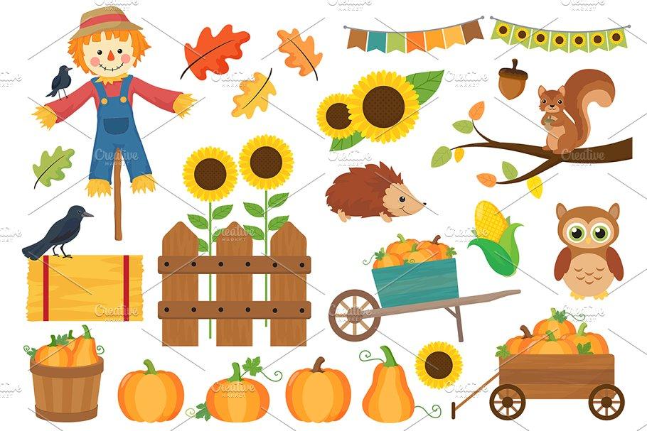 Pumpkin Harvest Fall Clipart.