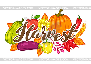 Harvest festival background with fruits and.