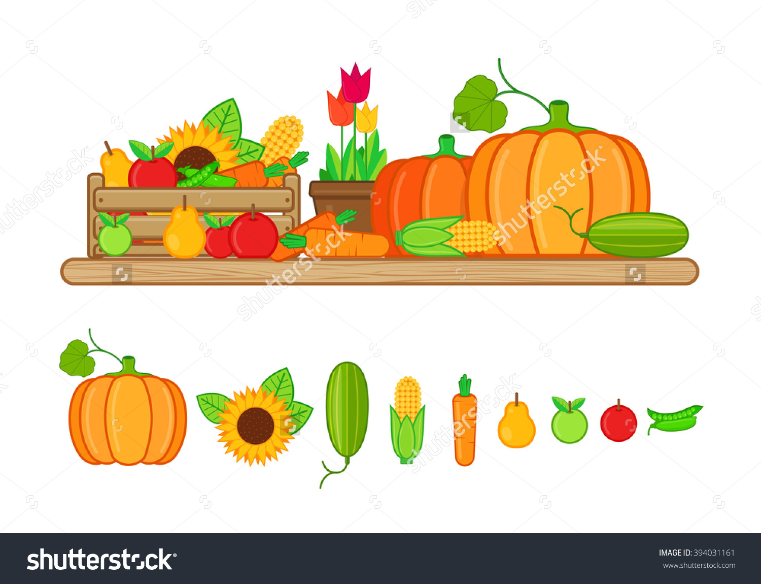Vector Illustration Harvest Fruits Vegetables Flat Stock Vector.