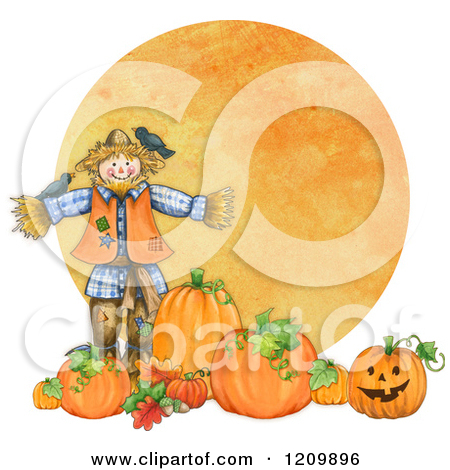 Clipart of a Scarecrow with Birds Pumpkins and Jackolanterns over.