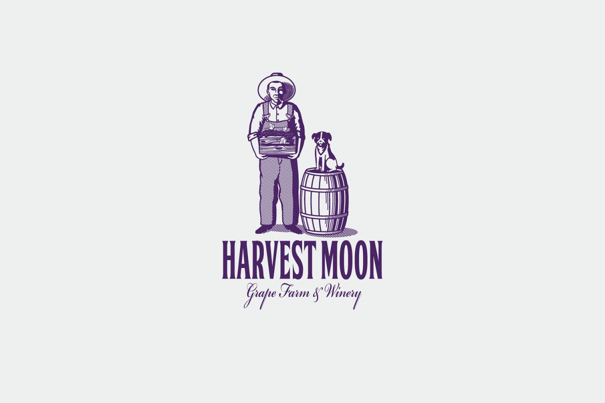Harvest Moon Logo Template.