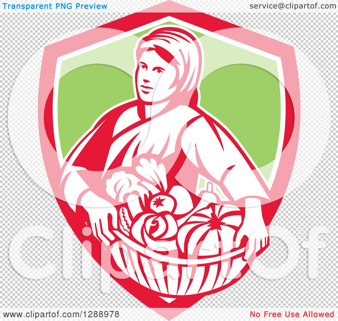 Clipart of a Retro Female Farmer Holding a Basket of Harvest.