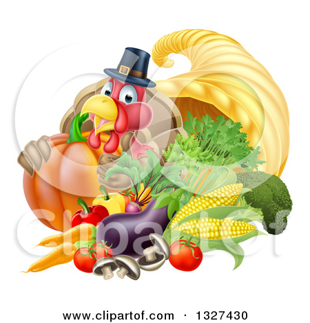 Clipart 3d Cornucopia Horn With Harvest Produce.