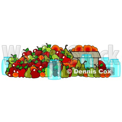 Clipart of Produce and the Word Harvest.