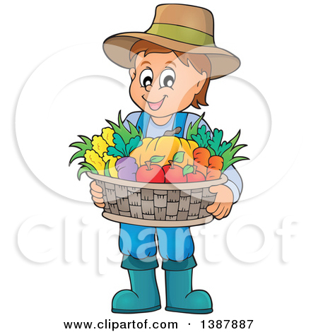 Clipart of a Cartoon Happy Brunette White Male Farmer Holding a.